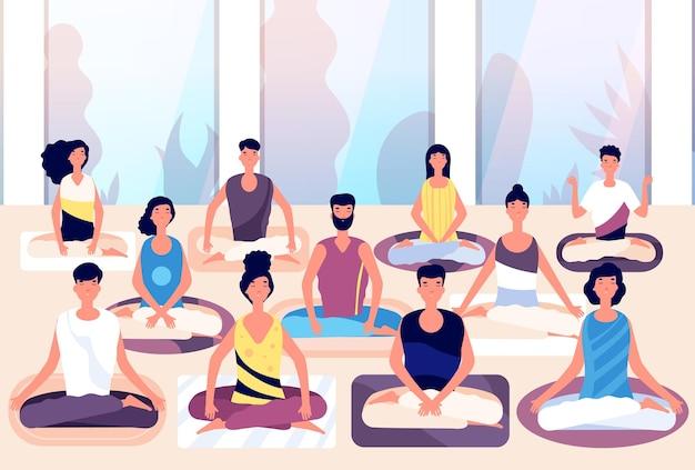 Grupa medytacyjna. ludzie siedzą w pozycji lotosu i medytują przed panoramicznym oknem. medytacja biznesowa, koncepcja wektor budowanie zespołu. ilustracja wellness pozycja zdrowia, ludzie kreskówka medytacji