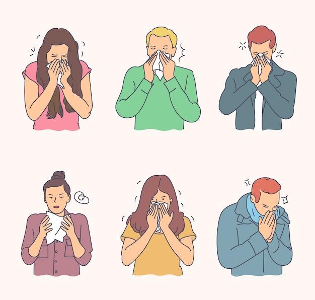 Grupa mężczyzn i kobiet ma ręcznie rysowane poważne choroby wirusowe