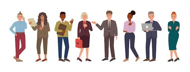 Grupa mężczyzn i kobiet w garniturach i tkaniny w stylu biurowym. postaci z kreskówek na białym tle.