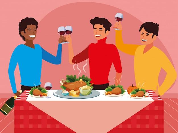 Grupa mężczyzn obchodzi święto dziękczynienia