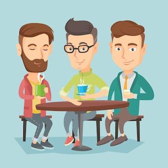 Grupa mężczyzn pijących gorące i alkoholowe napoje.