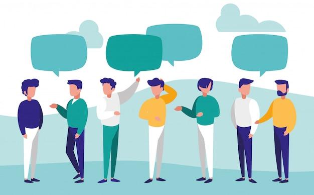 Grupa mężczyzn rozmawiających postaci