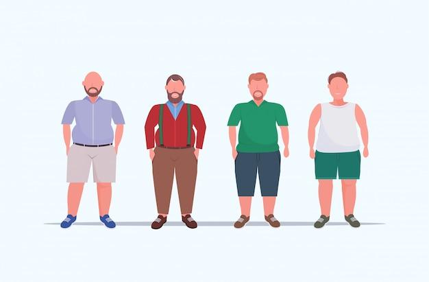 Grupa mężczyzn z nadwagą stojących razem niezdrowy koncepcja stylu życia faceci w przypadkowych ubraniach ponad rozmiar męskich postaci z kreskówek pełnej długości płasko poziomo
