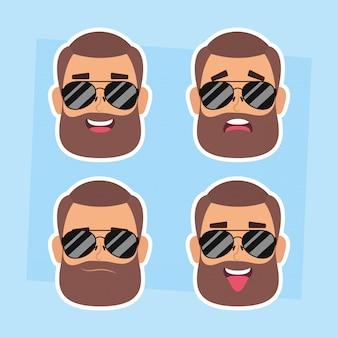 Grupa mężczyzna stawia czoło z brody i okularów przeciwsłonecznych wektorowym ilustracyjnym projektem