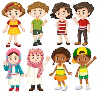 Grupa międzynarodowej postaci dzieci