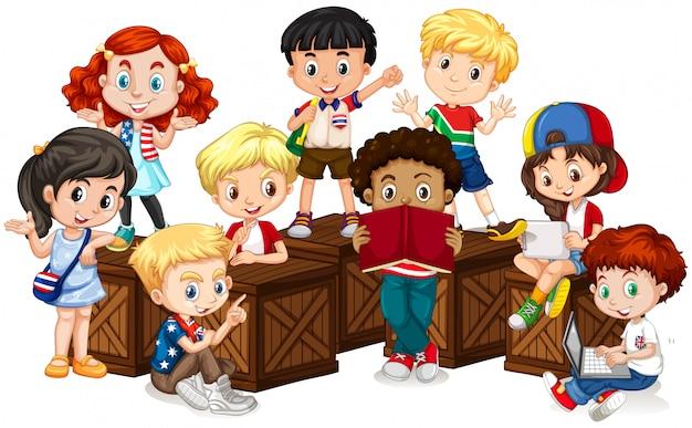 Grupa międzynarodowych dzieci