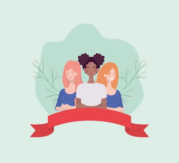 Grupa międzyrasowe kobiety stoi z faborkiem i liśćmi