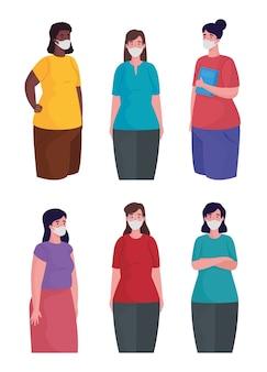 Grupa międzyrasowych kobiet w postaciach masek medycznych