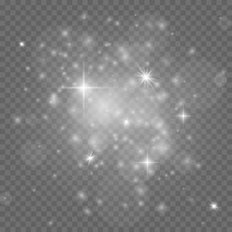Grupa migoczących świateł na przezroczystym tle