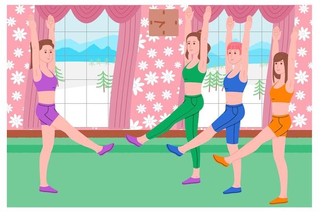 Grupa młodych dziewcząt uprawiających sport, ćwiczenia fizyczne, treningi w domu i fitness w domu podczas kwarantanny i prowadzenie zdrowego stylu życia. ilustracja wektorowa płaski. kobiety korzystające z domu jako siłowni.