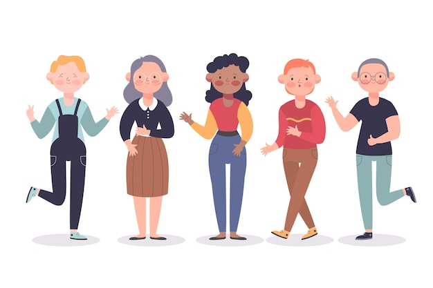 Grupa młodych i starych ludzi razem