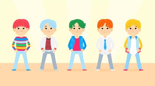 Grupa młodych k-popowych chłopców