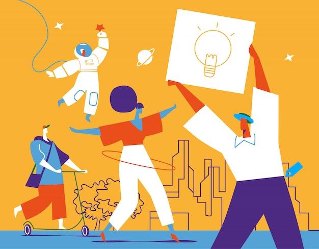Grupa młodych kobiet i mężczyzn charaterów wyraża swoją kreatywność