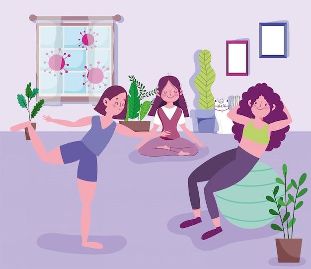 Grupa młodych kobiet uprawiających jogę, ćwiczenia rozciągające i ćwiczenia z piłką w domu, znosi pandemię 19 lat