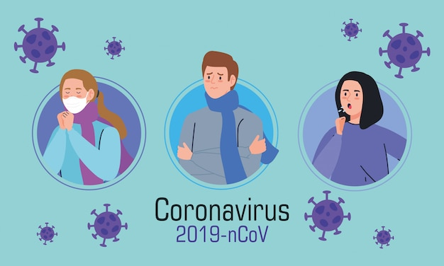 Grupa młodych ludzi chorych na koronawirusa 2019 ncov