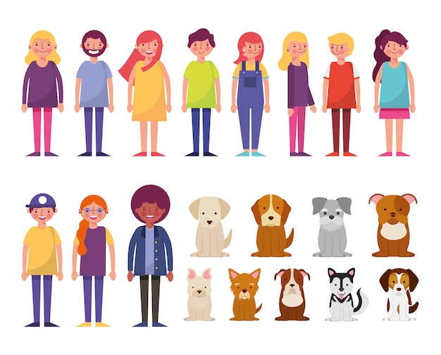 Grupa młodych ludzi i psów znaków