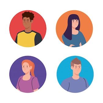 Grupa młodych ludzi, kobiet i mężczyzn w kręgu