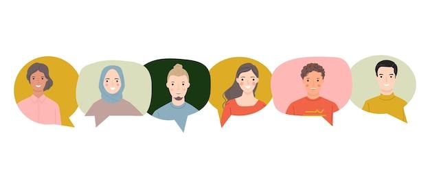 Grupa młodych ludzi mówiących razem kolorowe dymki dialogowe.