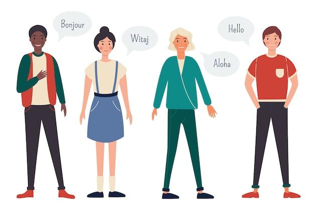 Grupa młodych ludzi mówiących w różnych językach