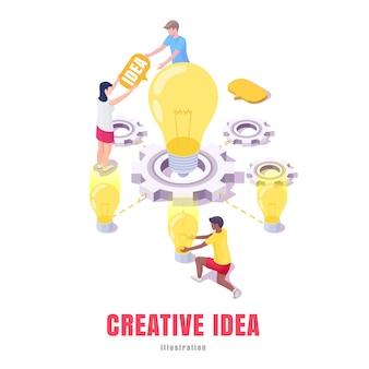 Grupa młodych ludzi pracujących nad kreatywnymi pomysłami na biznes, izometryczna ilustracja na baner