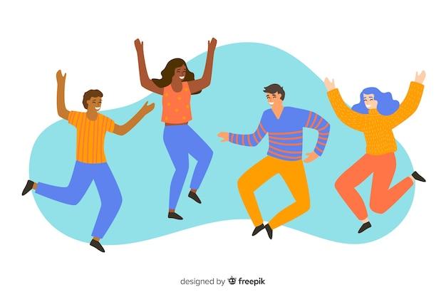Grupa młodych ludzi skaczących i zabawy ilustrowane