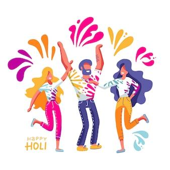 Grupa młodych ludzi świętuje holi. mężczyźni i kobiety rzucają kolorowe farby. ilustracja w płaskiej ręcznie rysowane stylu z napisem