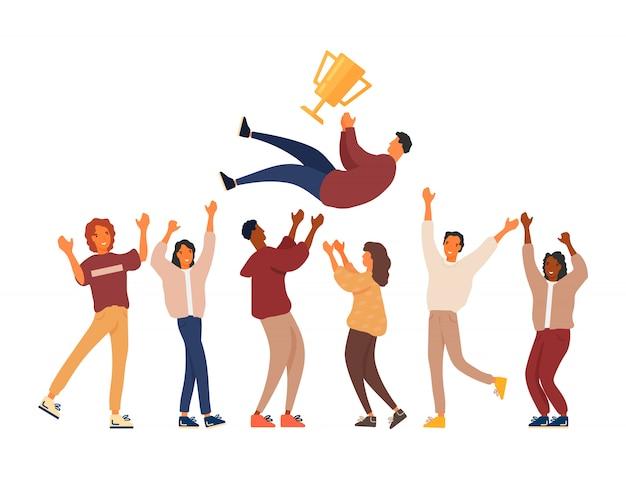 Grupa młodych ludzi świętuje zwycięstwo