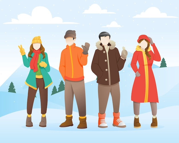 Grupa młodych ludzi w zimie