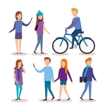 Grupa młodych ludzi znaków