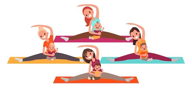 Grupa młodych matek robi joga z dziećmi. kobiety uprawiają fitness z dziećmi. w stylu płaskiej