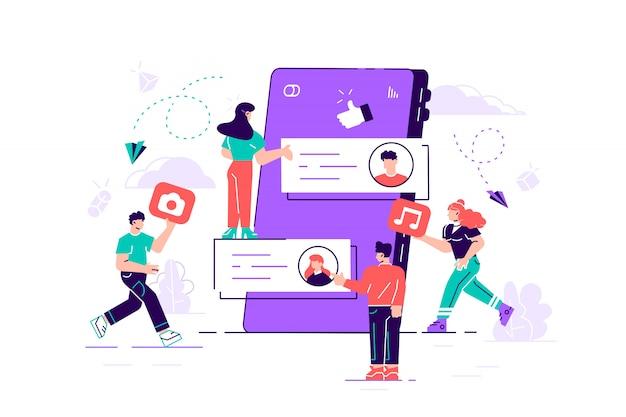 Grupa młodych mężczyzn i kobiet i gigantyczny smartfon z postów na ekranie. koncepcja tworzenia treści internetowych i udostępniania ich w mediach społecznościowych, blogowania i mikroblogowania. nowoczesne mieszkanie ilustracja.