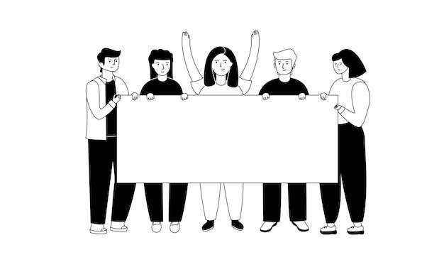Grupa młodych mężczyzn i kobiet stojących razem i trzymających pusty sztandar