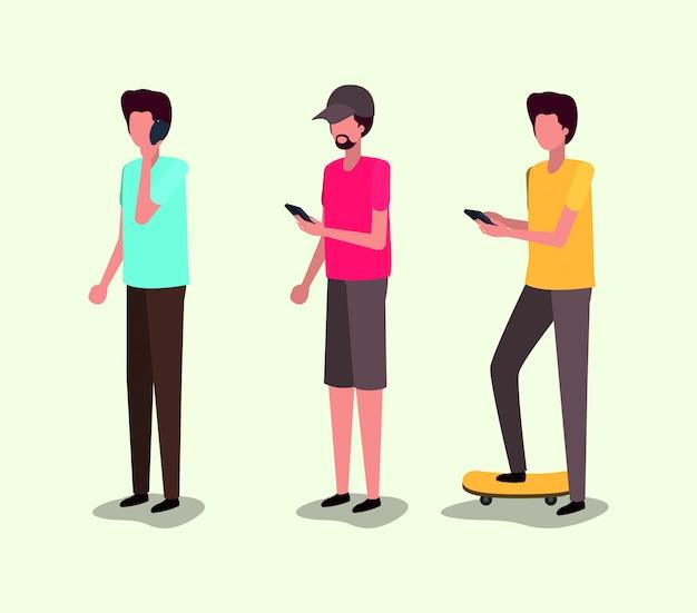 Grupa młodych mężczyzn za pomocą smartfona
