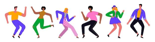 Grupa młodych szczęśliwych ludzi tańczących lub tancerzy płci męskiej i żeńskiej na białym tle. ilustracja płaska.