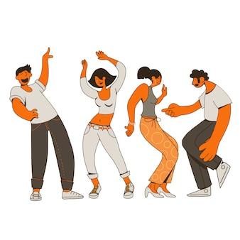 Grupa młodych szczęśliwych ludzi tańczących lub tancerzy płci męskiej i żeńskiej na białym tle