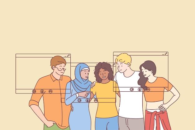Grupa młodych uśmiechniętych przyjaciół lub współpracowników wieloetnicznych ludzi gromadzących się razem przy użyciu technologii połączeń wideo na smartfonach