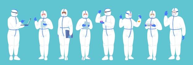 Grupa naukowców w laboratorium, kombinezony ochronne, maska. chemiczne badania laboratoryjne płaski kreskówka zestaw. koronawirus szczepionkowy według koncepcji odkrycia. kolby naukowców, mikroskop, komputer, działający środek przeciwwirusowy