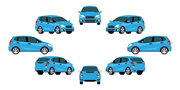 Grupa niebieskich samochodów