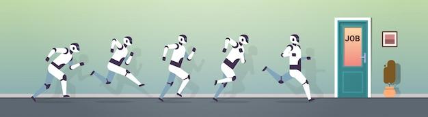 Grupa nowoczesnych robotów biegnąca do zawodów technologii sztucznej inteligencji drzwi do pracy