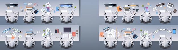 Grupa nowoczesnych robotów humanoidalnych siedząca przy biurkach w koncepcji sztucznej inteligencji w klasie szkolnej