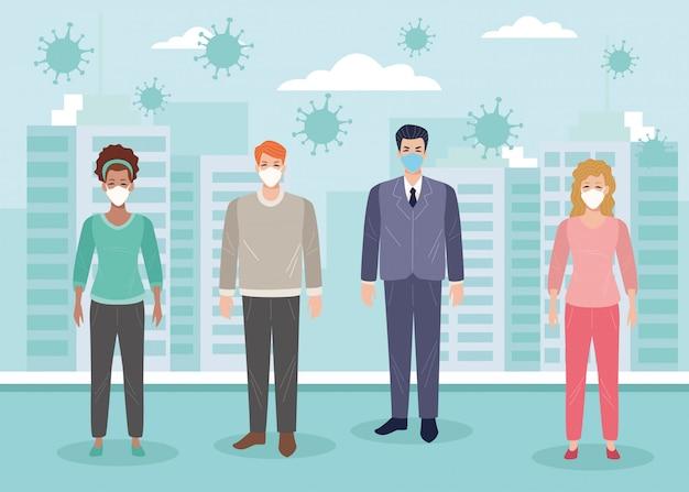 Grupa osób korzystających z maski na ilustracji covid19
