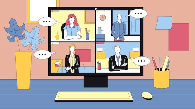 Grupa osób posiadających wideokonferencję online. komputer stacjonarny stojący na stole i otaczający. rozmowa biznesowa dotycząca nowoczesnych technologii. pracowników płci męskiej i żeńskiej.