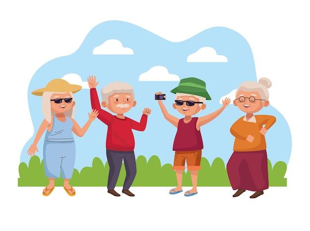 Grupa osób starszych w obozowych postaciach aktywnych seniorów