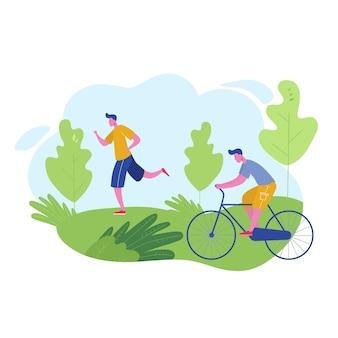 Grupa osób uprawiających zajęcia sportowe, wypoczynek w parku, jogging, jazda na rowerach. postacie mężczyzna robi treningu na świeżym powietrzu. płaska kreskówka
