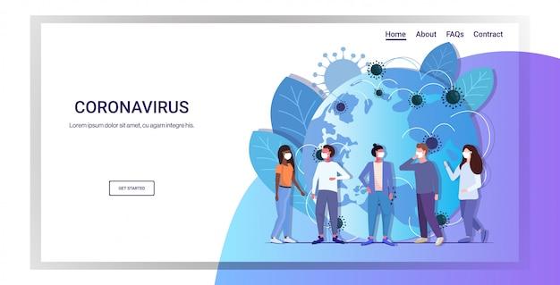 Grupa osób w maskach ochronnych epidemia koronawirus mers-cov rozprzestrzenianie się grypy świata pływająca koncepcja grypy wuhan 2019-ncov pandemia medyczne ryzyko zdrowotne pełnej długości pozioma kopia przestrzeń