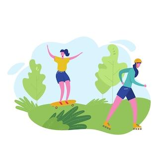 Grupa osób wykonujących zajęcia sportowe, wypoczynek na nartach w parku, jazda na deskorolce. postacie kobieta robi treningu na świeżym powietrzu. płaska kreskówka