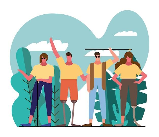 Grupa osób z postaciami niepełnosprawności w projekcie ilustracji obozu