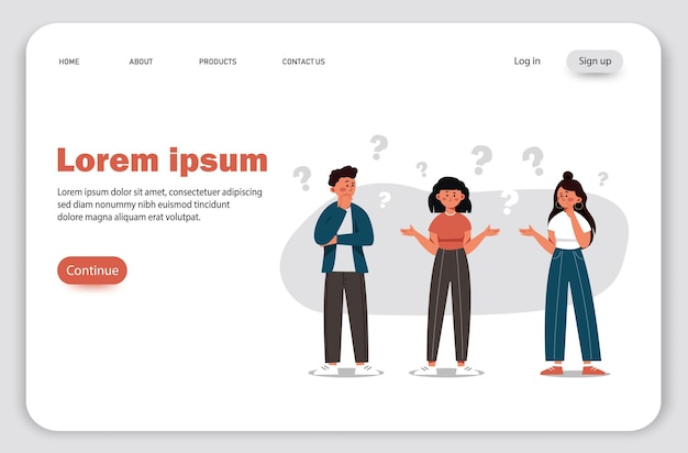 Grupa osób z pytaniami ilustracja komunikacji osób poszukujących rozwiązań problemów wykorzystywanych w projektach internetowych i aplikacjach wspólne myślenie
