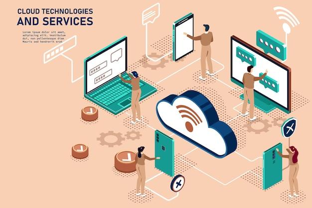 Grupa osób za pomocą gadżetów internetowych technologia synchronizacji usługi w chmurze online ilustracja izometryczna