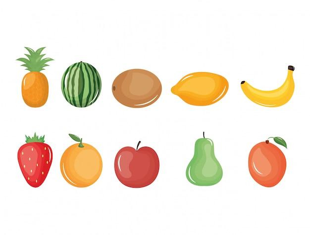 Grupa owoców tropikalnych i świeżych